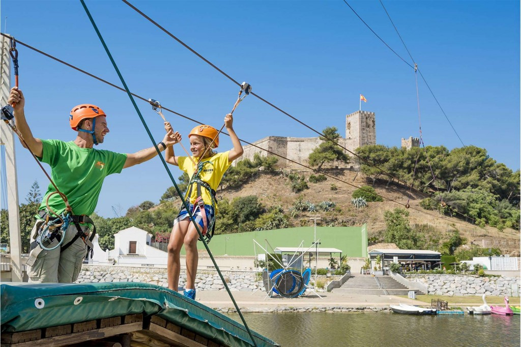 Younger guests having fun on a zip-line